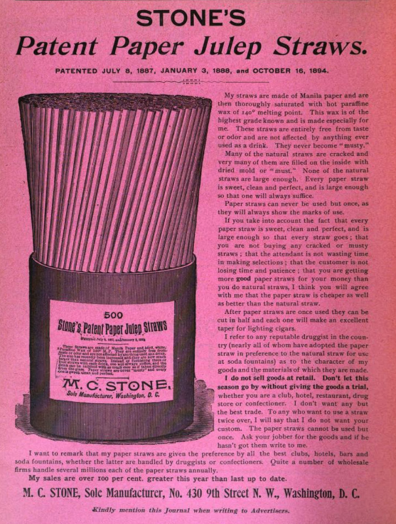 advertisement for stone julep straws