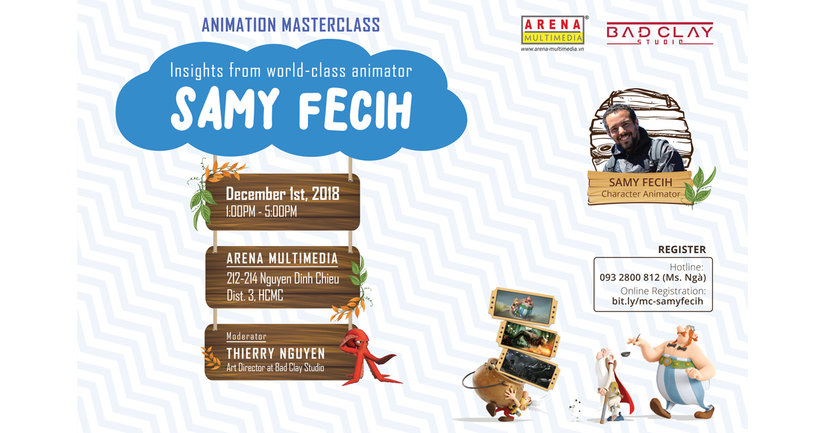 Arena Multimedia đem đến Hồ Chí Minh lớp Animation Masterclass từ animator đẳng cấp thế giới Samy Fecih