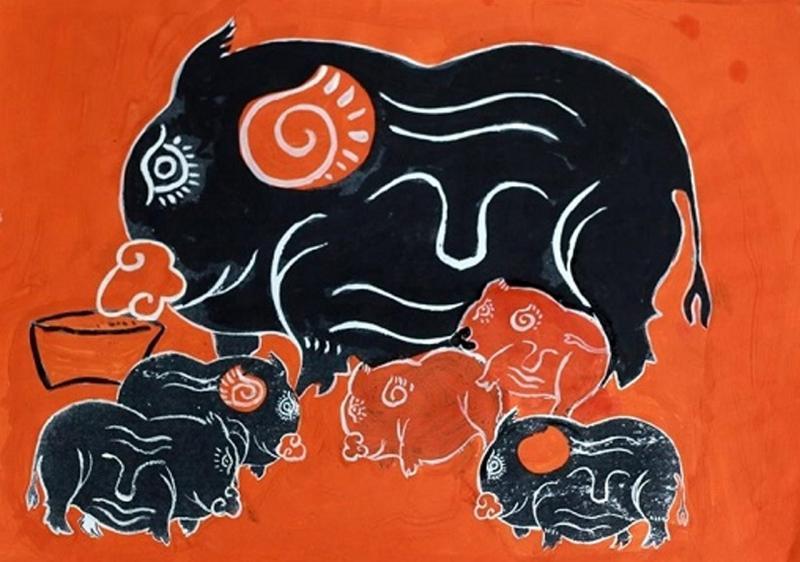 Con Lợn Của Hai Dòng Tranh Đông Hồ Và Kim Hoàng