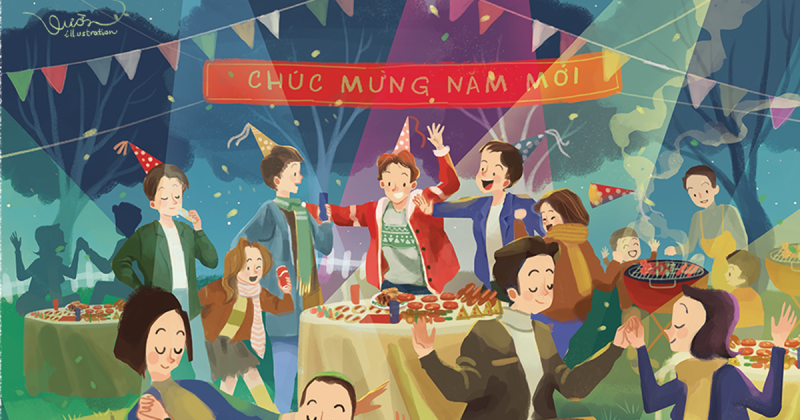 12 mùa lễ hội: Bộ lịch Tết ấm áp đến từ Vườn Illustration
