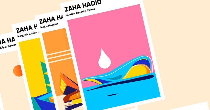 Poster retro về những công trình kiến trúc của Zaha Hadid