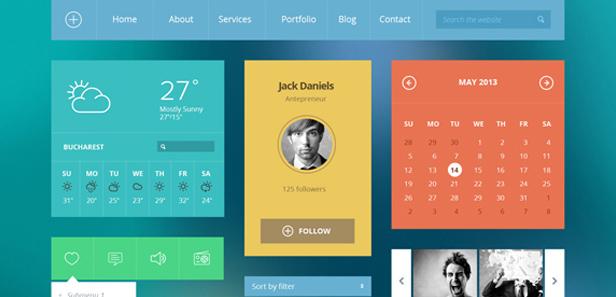 20 mẫu thiết kế Flat UI miễn phí