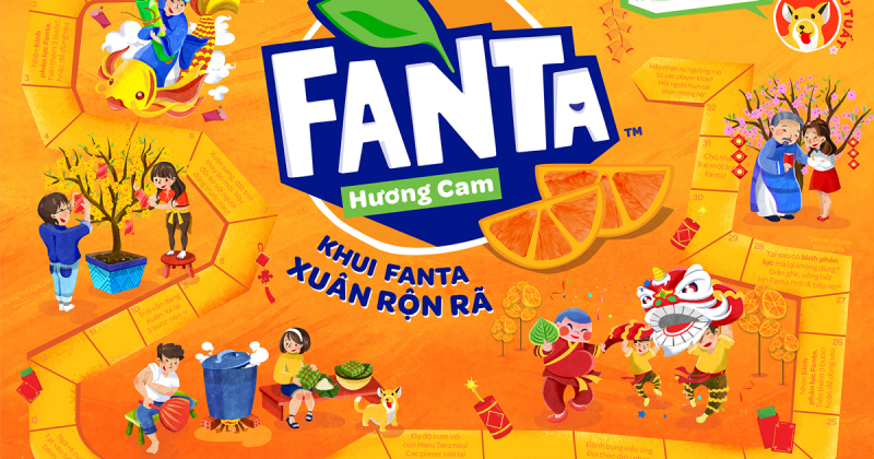 Trò chơi trên bao bì thùng Fanta cho năm mới Mậu Tuất