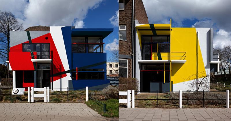 """Ngôi nhà """"bá đạo"""" - Rietveld van Doesburg - biểu tượng của phong trào De stijl"""