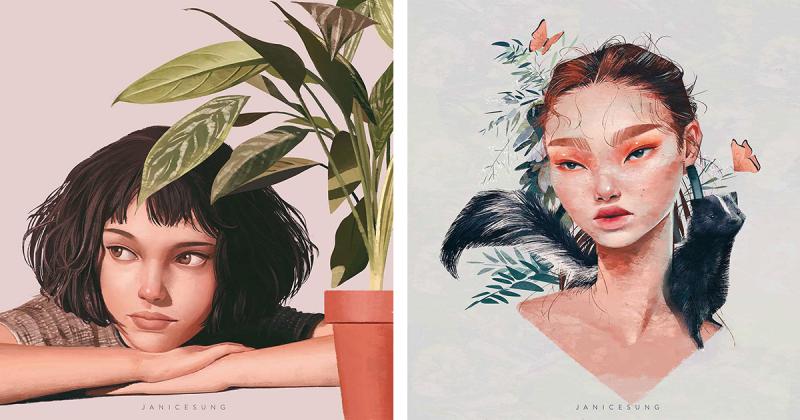 Minh họa chân dung đầy cảm hứng của nghệ sĩ Janice Sung