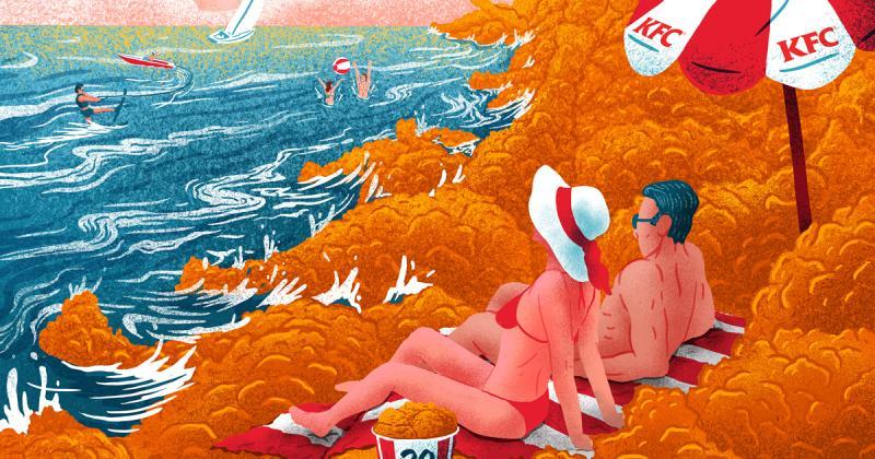 Bộ postcard về trải nghiệm du lịch trong thế giới đồ ăn của KFC