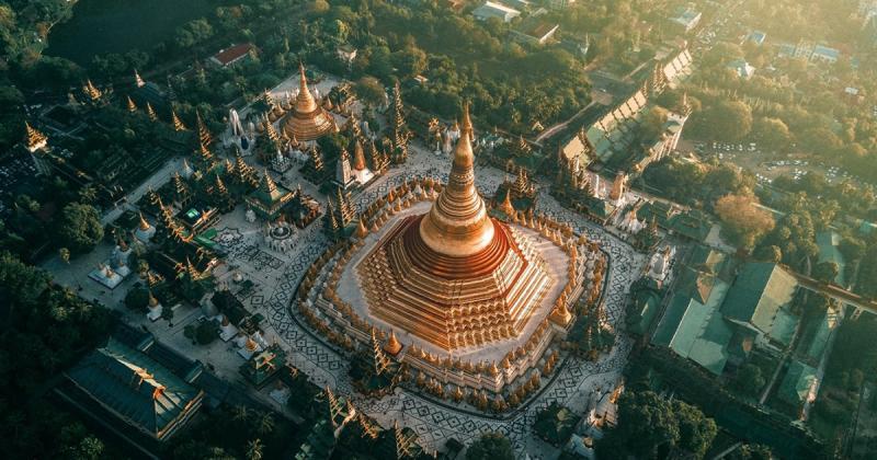 Ngắm nhìn những ngôi đền Phật giáo huyền ảo tại Myanmar từ trên không