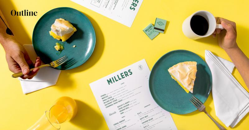 Bộ nhận diện thương hiệu tươi vui cho cửa hàng ăn sáng Millers
