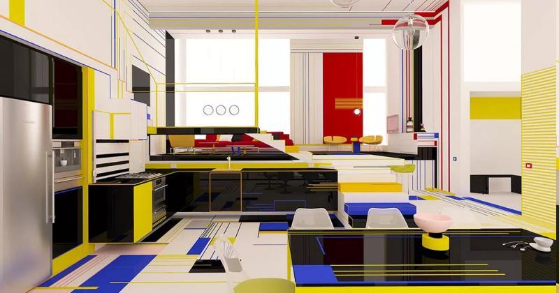 Cảm hứng từ huyền thoại Piet Mondrian với thiết kế nội thất phong cách De Stijl