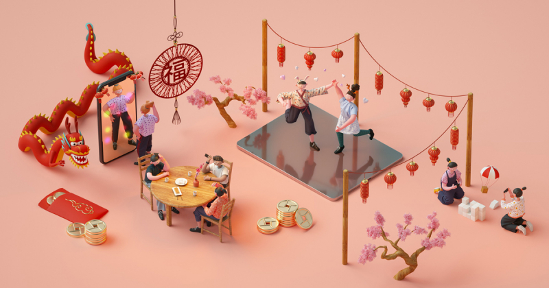 Minh hoạ 3D của Apple cho dịp Tết âm lịch năm 2019