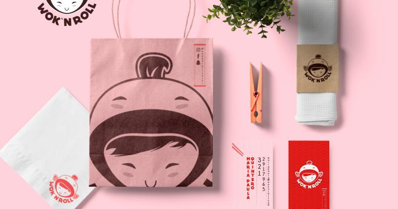 Wok N'Roll - Nhà hàng sushi với bộ nhận diện màu hồng đáng yêu