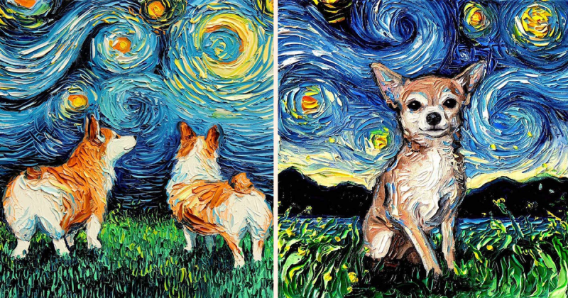 """Khi thú cưng trở thành """"nhân vật chính"""" trong tranh Van Gogh"""