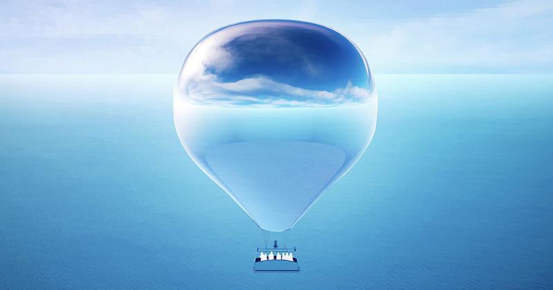 Khinh khí cầu bề mặt kính phản chiếu cảnh quan hùng vĩ của nước Mỹ