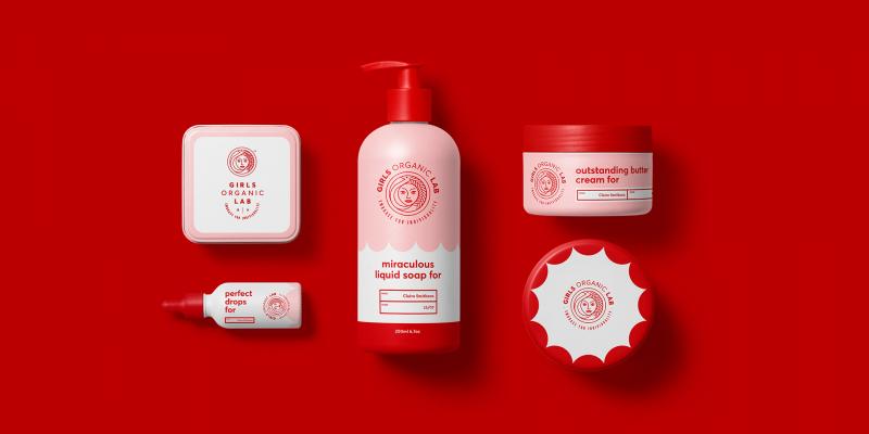 Thương hiệu chăm sóc cơ thể Girls Organic Lab với sắc đỏ thu hút ánh nhìn