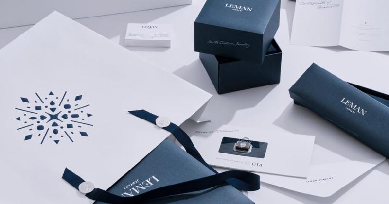 Bộ nhận diện sang trọng M — N Associates thiết kế cho Leman Jewelry