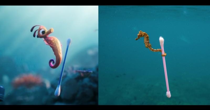 """Đoạn hoạt hình lấy cảm hứng từ bức ảnh nổi tiếng: """"Chú cá ngựa nhảy cùng chiếc tăm bông"""""""