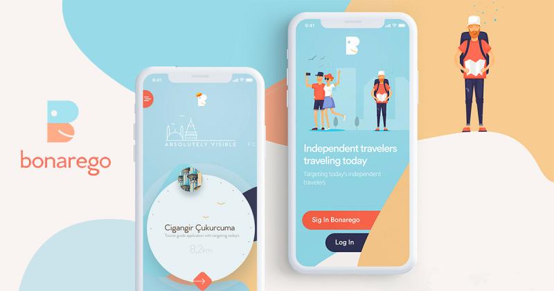 [UI Inspiration] Thiết kế vui tươi của ứng dụng hướng dẫn du lịch Bonarego