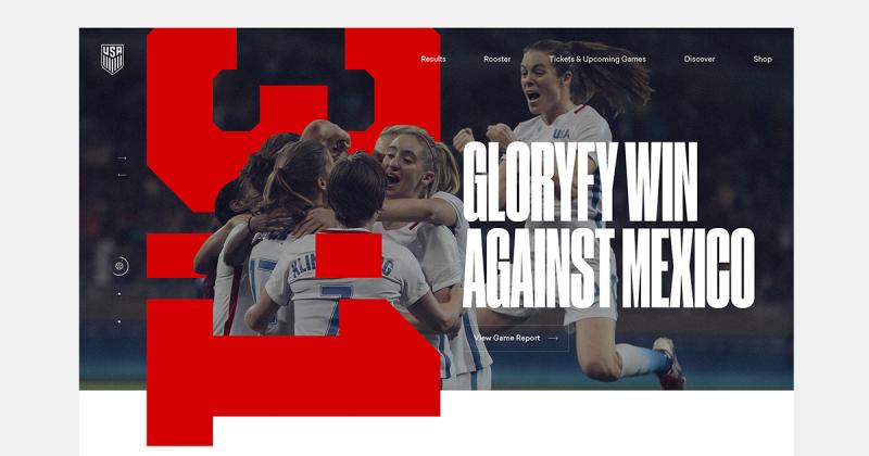 [UI Inspiration] Trang web tôn vinh sự mạnh mẽ nữ tính của Đội tuyển bóng đá nữ Hoa Kỳ