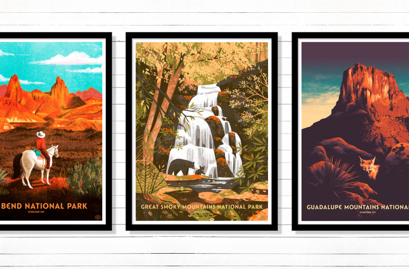 Chuỗi ấn phẩm Fifty‑Nine Parks Print Series khắc họa vẻ đẹp của các vườn quốc gia