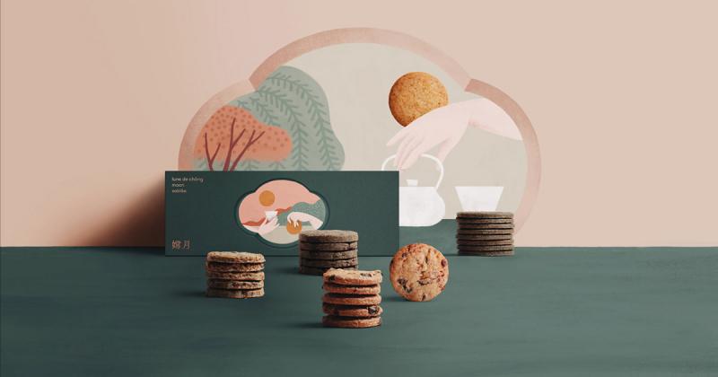 Bao bì hộp bánh Trung thu hiện đại và tinh giản của tiệm bánh ngọt ROCCA