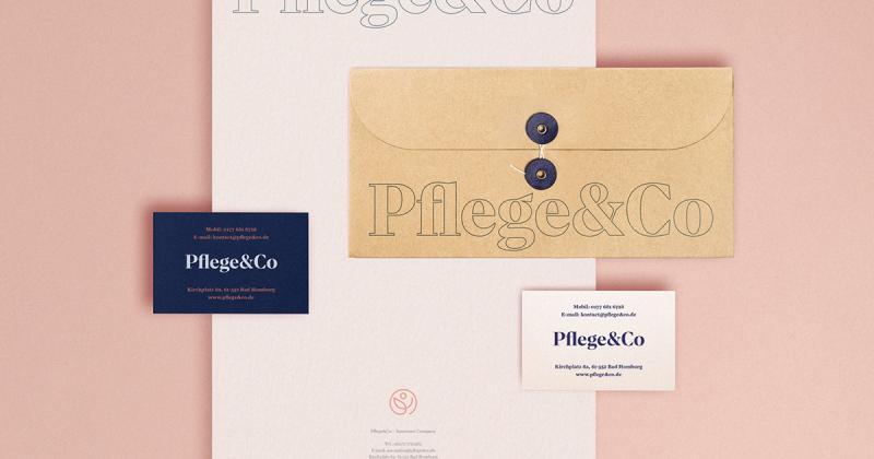 Bộ nhận diện hiện đại xen lẫn nét cổ điển cho công ty bảo hiểm Pflege&Co