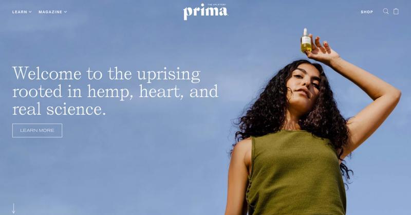 Cảm giác cân bằng từ thiết kế web của Prima