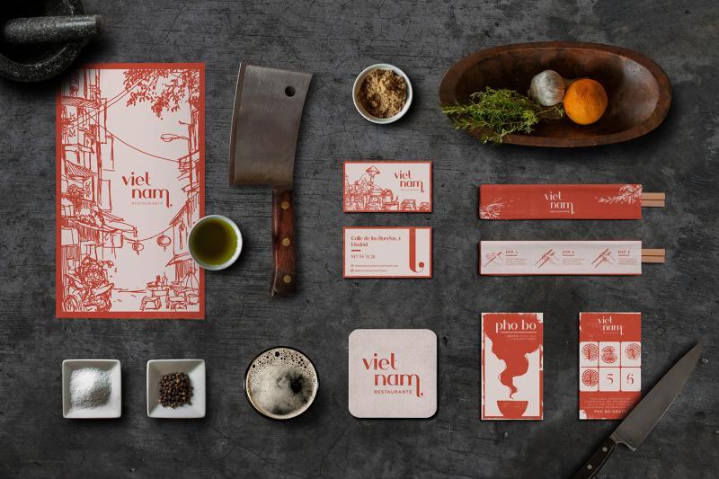 Cảm hứng từ tranh ký hoạ trong bộ nhận diện nhà hàng Việt tại Tây Ban Nha