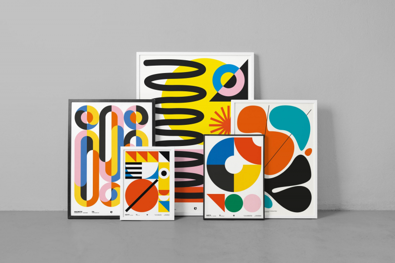 Bộ poster đoạt giải thưởng lấy cảm hứng từ thập niên 90 và Bauhaus