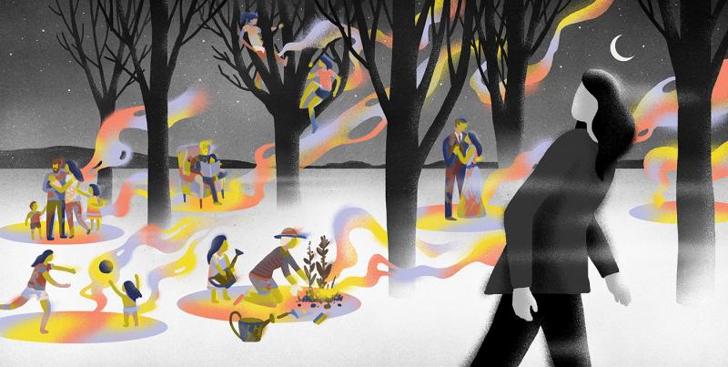 Minh họa nhẹ nhàng và 'chill' của tạp chí mang chủ đề thiền định
