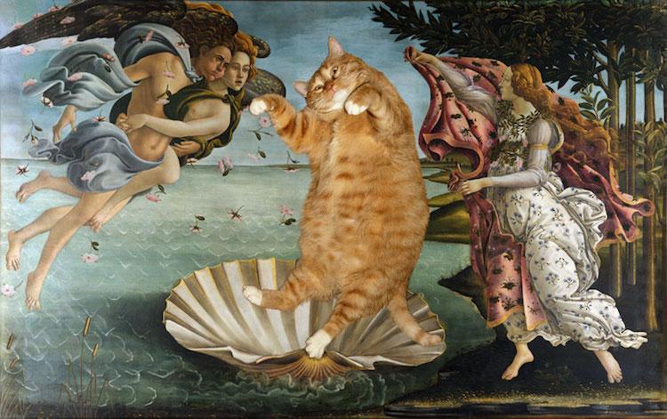 Chú mèo béo đáng yêu 'xâm chiếm' những bức tranh nổi tiếng nhất trong lịch sử nghệ thuật