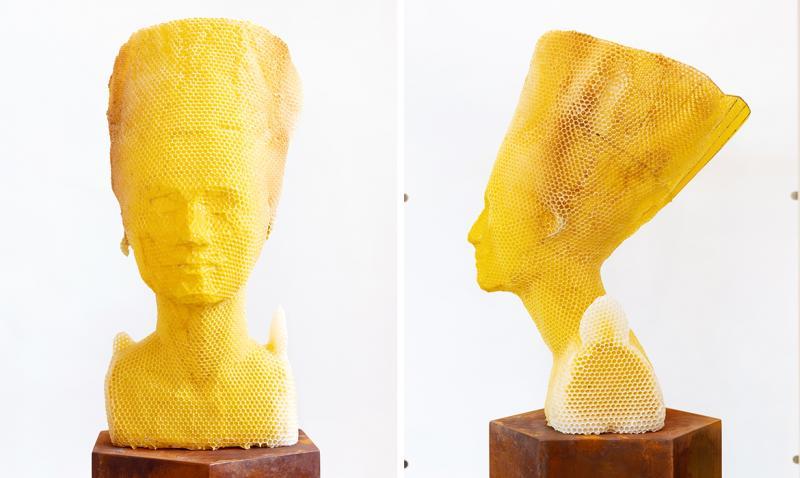 Tomáš Libertíny hợp tác cùng 60.000 con ong để tái tạo bức tượng bán thân của Nefertiti từ sáp ong và tổ ong