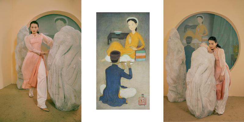 Thiết kế áo dài thanh nhã lấy cảm hứng từ nhân vật trong tranh Mai Trung Thứ
