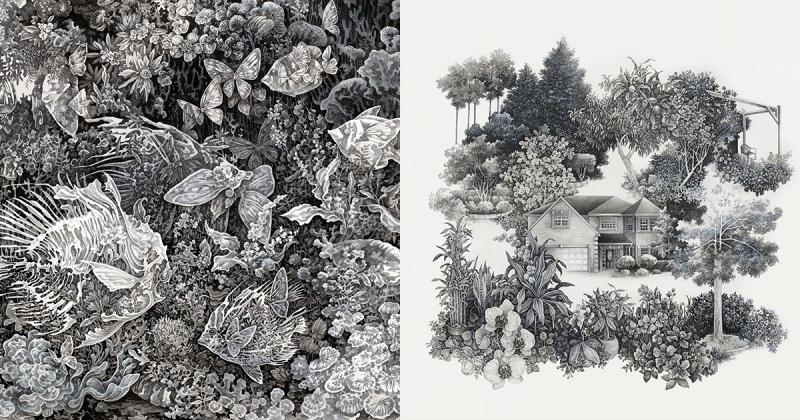Cùng khám phá những hệ sinh thái đến từ thế giới khác với những hình ảnh minh họa theo phong gạch chéo của Song Kang