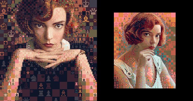 Nghệ sĩ tạo nên chân dung của Beth Harmon trong 'The Queen's Gambit' với hàng loạt những quân cờ vua