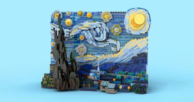 """Tác phẩm """"Đêm đầy sao"""" của Vincent Van Gogh đã chính thức biến thành một bộ LEGO gồm 1.552 mảnh ghép"""