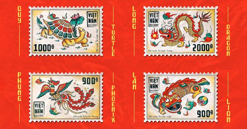 Bộ tem kết hợp giữa hình tượng Tứ Linh và rối nước
