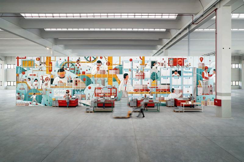 Bức tranh tường khổng lồ minh họa quá trình làm việc trong một nhà máy đèn qua minh họa của Emans