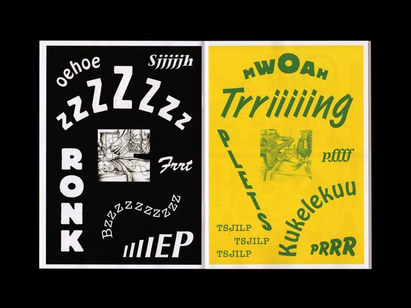 Tìm hình ảnh và typography cho âm thanh qua tạp chí minh họa 'Onomatopee'