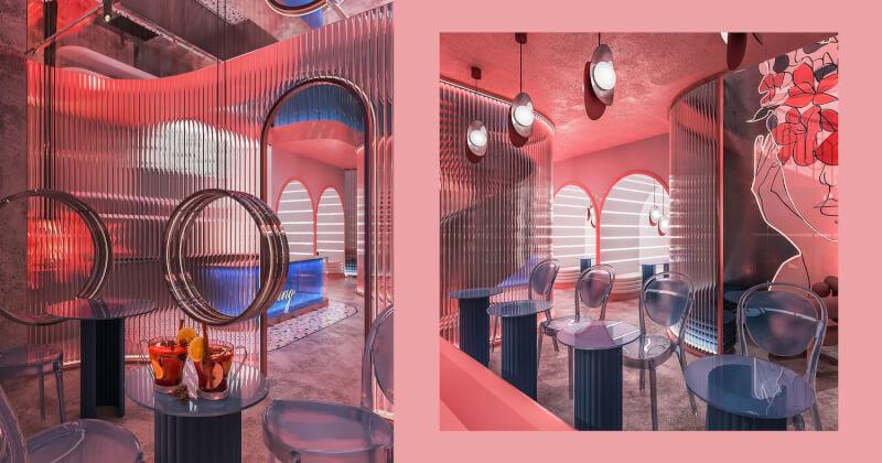 Thiết kế quán cafe Cocktails Spring của Leaf Design - Ly cocktail của sự tương phản và đồng nhất